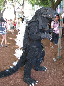 Somebody actually made their own Godzilla costume. Awesome.