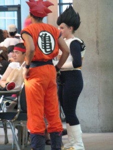 Goku (I think) and Vegeta, just hanging out.
