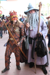 A wood elf and Gandalf the Grey